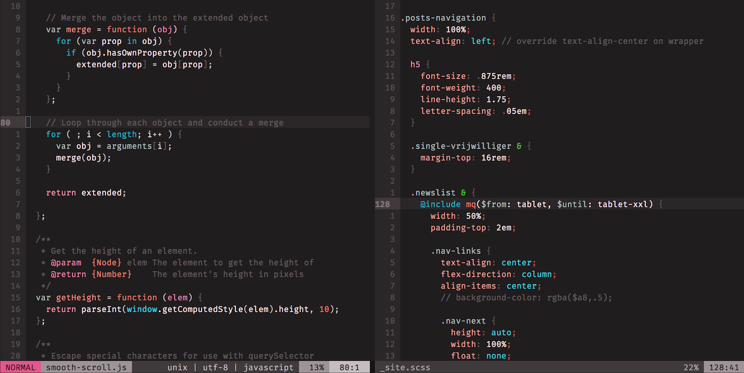 screenshot of Base4Tone_Modern_W_Dark in Vim